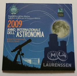 BU set San Marino 2009 (1 cent - 2 euro + 5 euro 'Astronomie') in blister