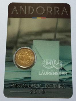 2 euro Andorra 2015 BU '30 jaar Stemrecht' in coincard