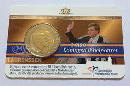 2 euro Nederland 2014 BU 'Koningsdubbelportret' in coincard