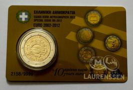 2 euro Griekenland 2012 UNC '10 jaar Euro' in coincard