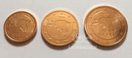 1, 2 en 5 cent Estland 2018 UNC 'Kaart van Estland'