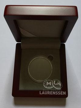Mahonie houten munt doosje met capsule voor bijv. 3 euro