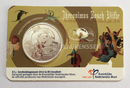 5 euro Nederland 2016 BU 'Jheronimus Bosch Vijfje' in coincard