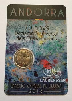 2 euro Andorra 2018 BU '70 jaar Mensenrechten' in coincard