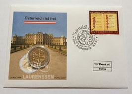 2 euro Oostenrijk 2005 UNC '50 jaar Staatsverdrag' in numisbrief Innsbruck