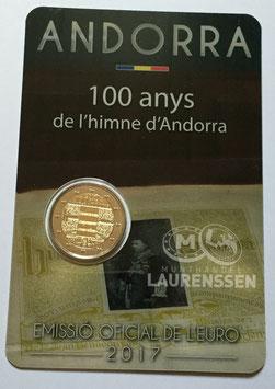 2 euro Andorra 2017 BU '100 jaar Volkslied' in coincard