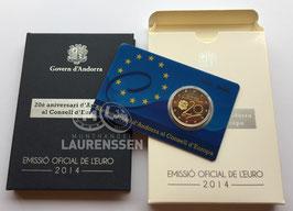 2 euro Andorra 2014 Proof '20 jaar lid Raad van Europa' in cassette
