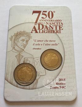 2x 2 euro Italië 2015 BU 'Dante Alighieri - Dante' in coincard