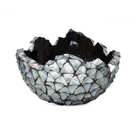 Schelpenvaas Bowl zilver/blauw XL