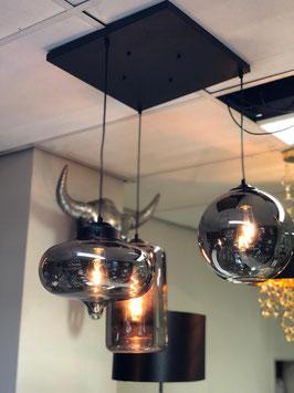 Hanglamp Evy 3 licht bulbs vierkant