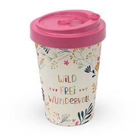 "Bamboo Travel Mug ""Wild. Frei. Wundervoll"""