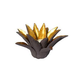 """Teelichthalter und Kerzenständer """"Wasserlilie"""" gold - lila"""