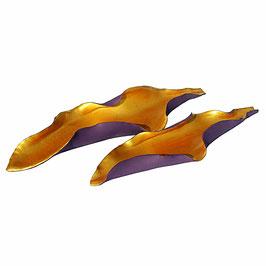 Blattschale aus Keramik - Farbe lila - gold