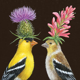 "Serviettenset ""Goldfinch Couple"", große Papierservietten"
