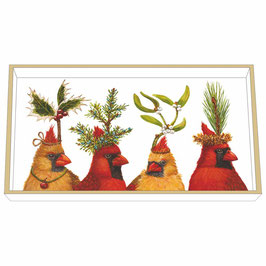 "Wooden Lacquer Tray ""Holiday Party"" - Tablett"