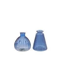 Mini Vasen Set - blaues Glas - 2 Stück - von Miljögarden