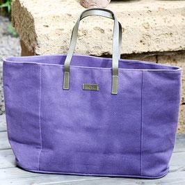 Einkaufstasche - Shopper aus Baumwolle - lila mit buntem Innenfutter
