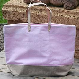 Strandtasche aus  Baumwolle u. Polyester - rosa beige