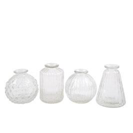 Mini Vasen Set - klares Glas - 4 Stück - von Miljögarden