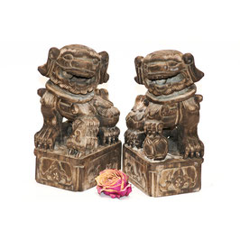 chinesisches Fu Hunde Paar mittelgroß natur