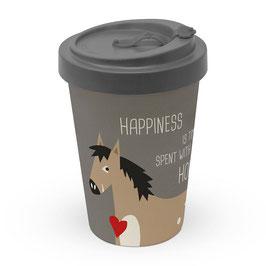 "Bamboo Travel Mug""Happiness & Horses"""