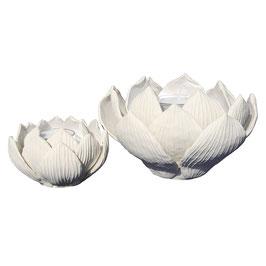 """Teelichthalter und Kerzenständer """"Lotosblüte"""" Perlmutt"""