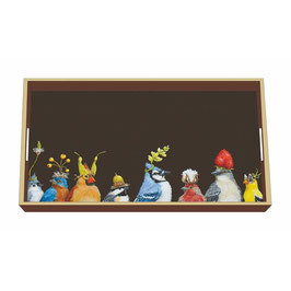"Wooden Lacquer Tray ""Jay's Party"" - Tablett"