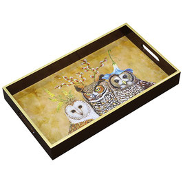 "Wooden Lacquer Tray ""Owl Family"" - Tablett"