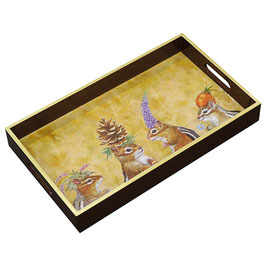 "Wooden Lacquer Tray ""Chipmunk Social"" - Tablett"