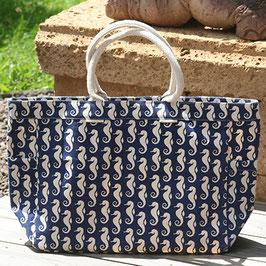 Große Seepferdchen Strandtasche - weiß und blau