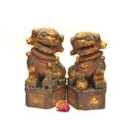 chinesisches Fu Hunde Paar groß teilvergoldet