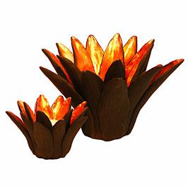 """Teelichthalter und Kerzenständer """"Wasserlilie"""" schwarz"""