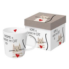 """Trend Mug und Geschenkebox """"Home Cat"""""""