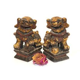 chinesisches Fu Hunde Paar klein teilvergoldet