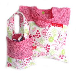 Wäsche-/Zahnputzbeutel Pinke Blumen
