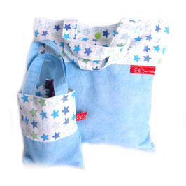 Wäsche-/Zahnputzbeutel Sterne in Hellblau, Weiß und Grün