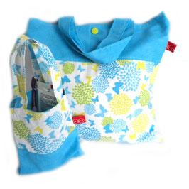 Wäsche-/Zahnputzbeutel Blaue Blumen