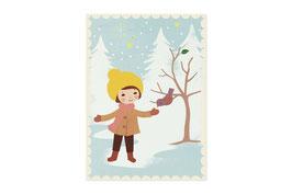 Postkarte Vögelchen füttern - Monimari