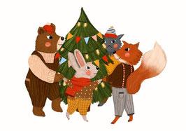 Postkarte Happy Christmas Tree - Lea Melcher