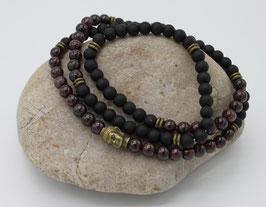 Collier Mala 108 perles Agate & Grenat