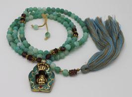 Collier Mala 108 perles Agate givrée