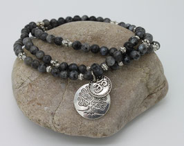 Collier Mala 108 perles Pierre de lune