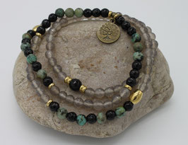 Collier Mala 108 perles Agate & Turquoise