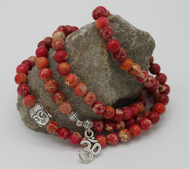 Collier Mala 108 perles Turquoise rouge