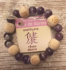 Bracelet perles de karma (enfant) - Améthyste