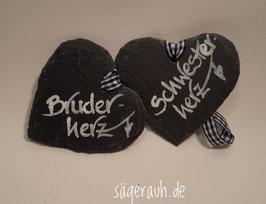 Schieferherz - Bruder-/Schwesterherz