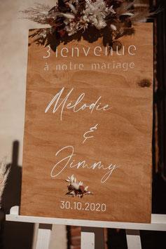 Panneau de bienvenue mariage en bois -  Collection Bohème et fleurs séchées
