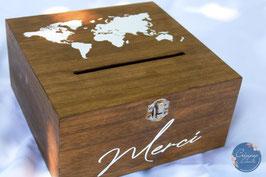 Urne en bois voyage - carte du monde