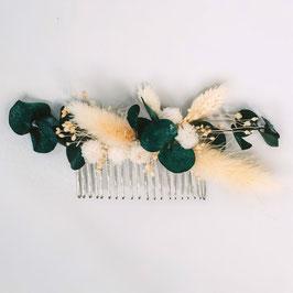 Peigne de fleurs séchées - Louise - Naturelle et eucalyptus