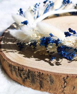 Couronne de fleurs séchées - Océane - Bleu et ivoire